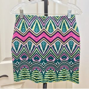 River Island neon tribal mini skirt